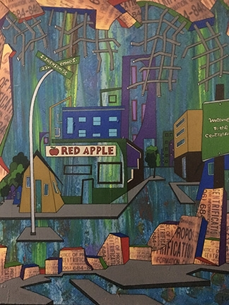 """Red Apple Gentrification"" by Lawrence Pitre, ""We Are One Series,"" acrylic on canvas."