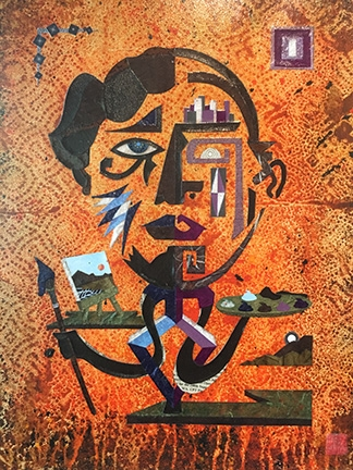 """""""Self-portrait"""" by Lawrence Pitre, mixed media."""