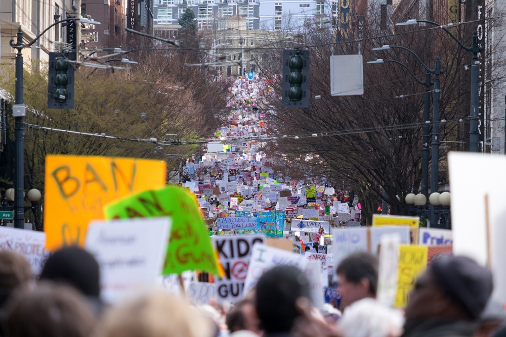 March for Our Lives Seattle protest on March 24. Photo by Alex Bergstrom