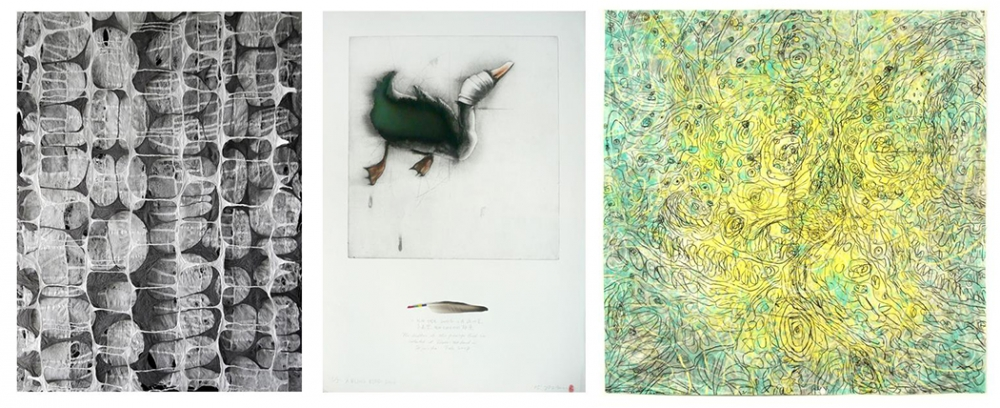"From left, ""Between and Within"" Jiyoung Chung, Joomchi, 42"" x 29"", ""Blinded Duck"" by Gilchun Koh, etching with hand wrapped feather, 35"" x 24.5"" and ""as we walked through fields of taiwan cabbage"" by Alan Lau, mixed media on rice paper, 27"" x 53.5"""