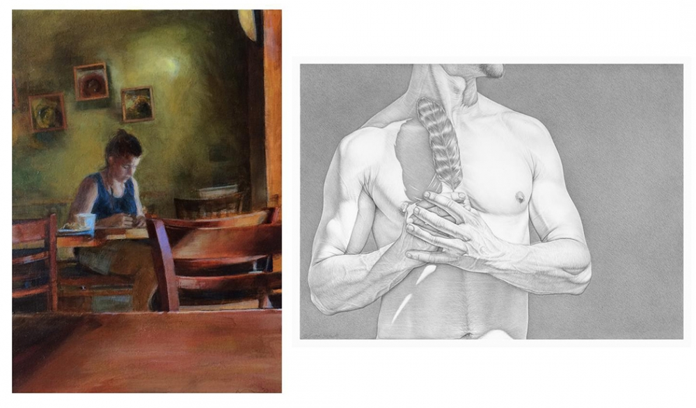 "From left, ""Interior with a Woman Sitting at a Table / After Hammershoi"" by Sally Cleveland 2017, 7"" x 5"" and ""Flight"" by Robert Schultz, 2018, silverpoint on gessoed panel, 9"" x 12"" at Prographica/KDR."