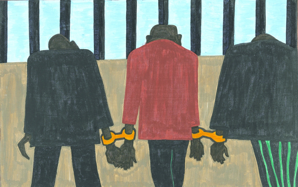 Panel #22 Migrants left. They did not feel safe. It was not wise to be found on the streets late at night. They were arrested on the slightest provocation. Jacob Lawrence