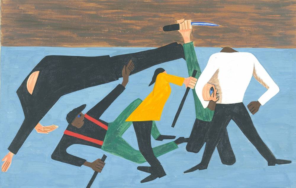 Panel #52 One of the most violent race riots occurred in East St. Louis. Jacob Lawrence