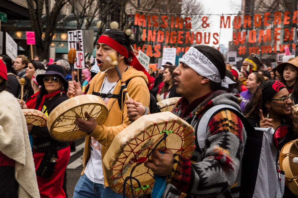 Native American people march to bring awareness to the MMIW movement. Supporters came from as far away as Montana. Photo by Matthew S. Browning