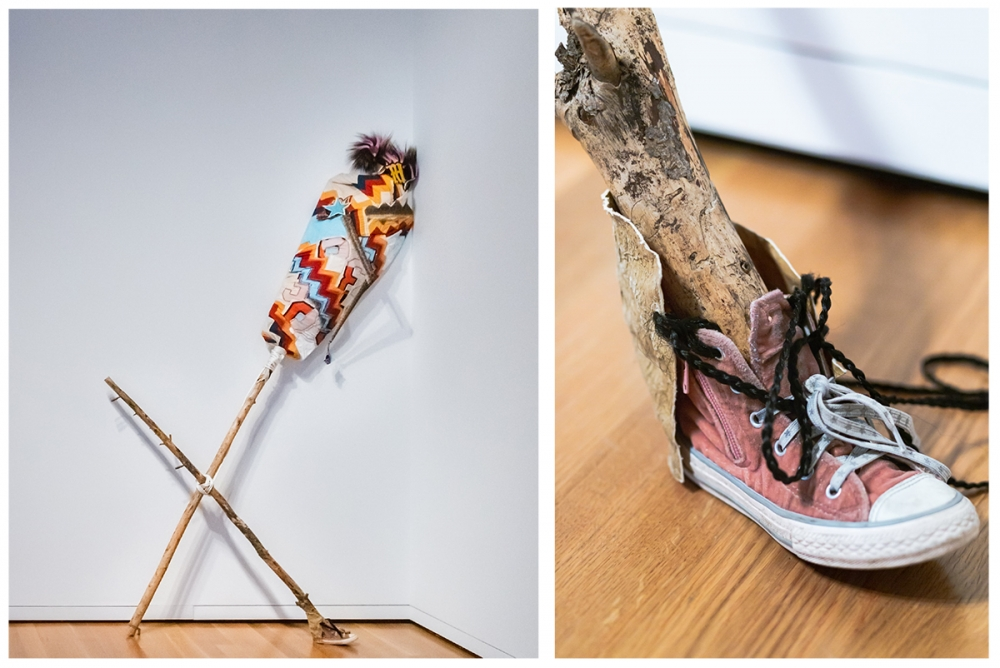 """You Mist, Again (Rattle)"" by Natalie Ball, 2019, cotton, crystals, pine, polyester, rattlesnake, deer and porcupine hair, braiding hair, Converse shoe, acyrlic, beads, bullet shells and deer rawhide. Right, detail of the sculpture. Photo courtesy Seattle"