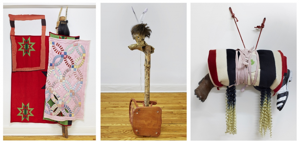 "From left: ""Wedding,"" 2019, wool, cotton, pine, braiding hair, woven cedar, acrylic paint; 96"" x 60""; ""Bunny,"" 2019, raw hide, feathers, pine, rocking chair, elk hide, 59"" x 22"" x 16""; ""Bundle,"" Pendleton wool blanket, cowboy boots, beads, acrylic, satin,"