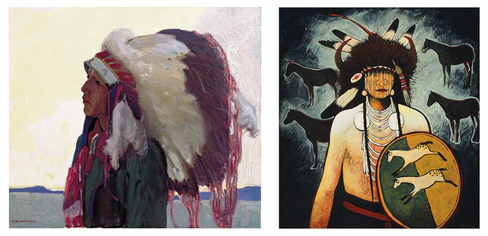 "From left, ""Taos Indian Chief"" by Ernest L. Blumenschein (American), oil on canvas, 1915. ""Buffalo Horse Medicine"" by Kevin Red Star (Apsáalooke Nation), mixed media, 2007. Photos courtesy Tacoma Art Museum"