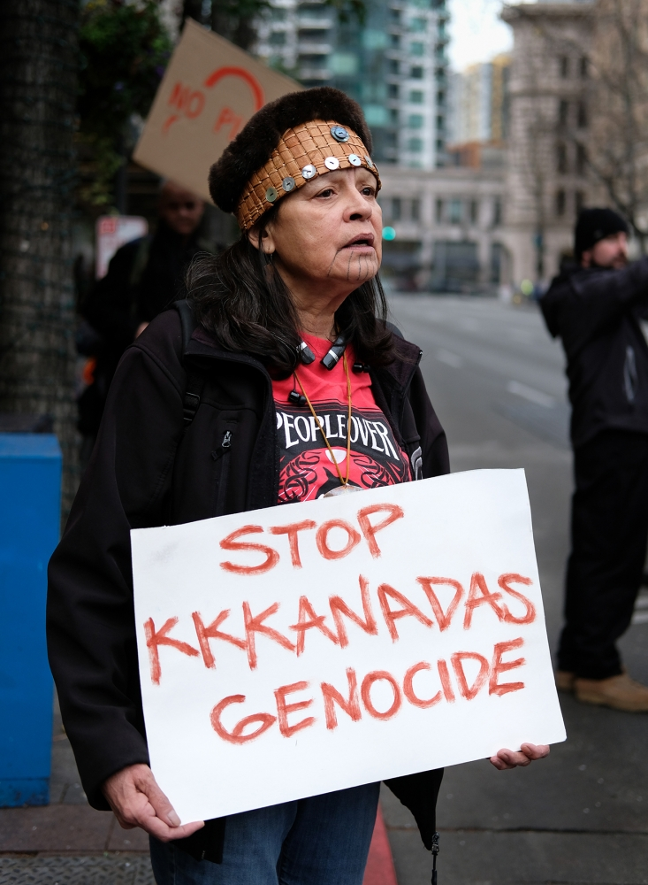 Frieda Eide, of the Tlingit tribe, supports the Wet'suwet'en people against the pipeline construction, in Seattle, on Jan. 11. Photo by Valerie Franc-Houge