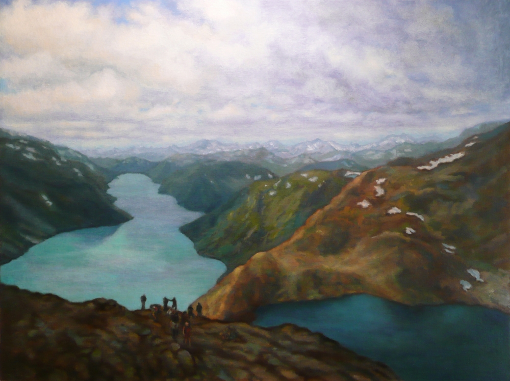 """Besseggen Ridge"" by Patricia Halsell, oil on linen on panel, 18″ x 24″"