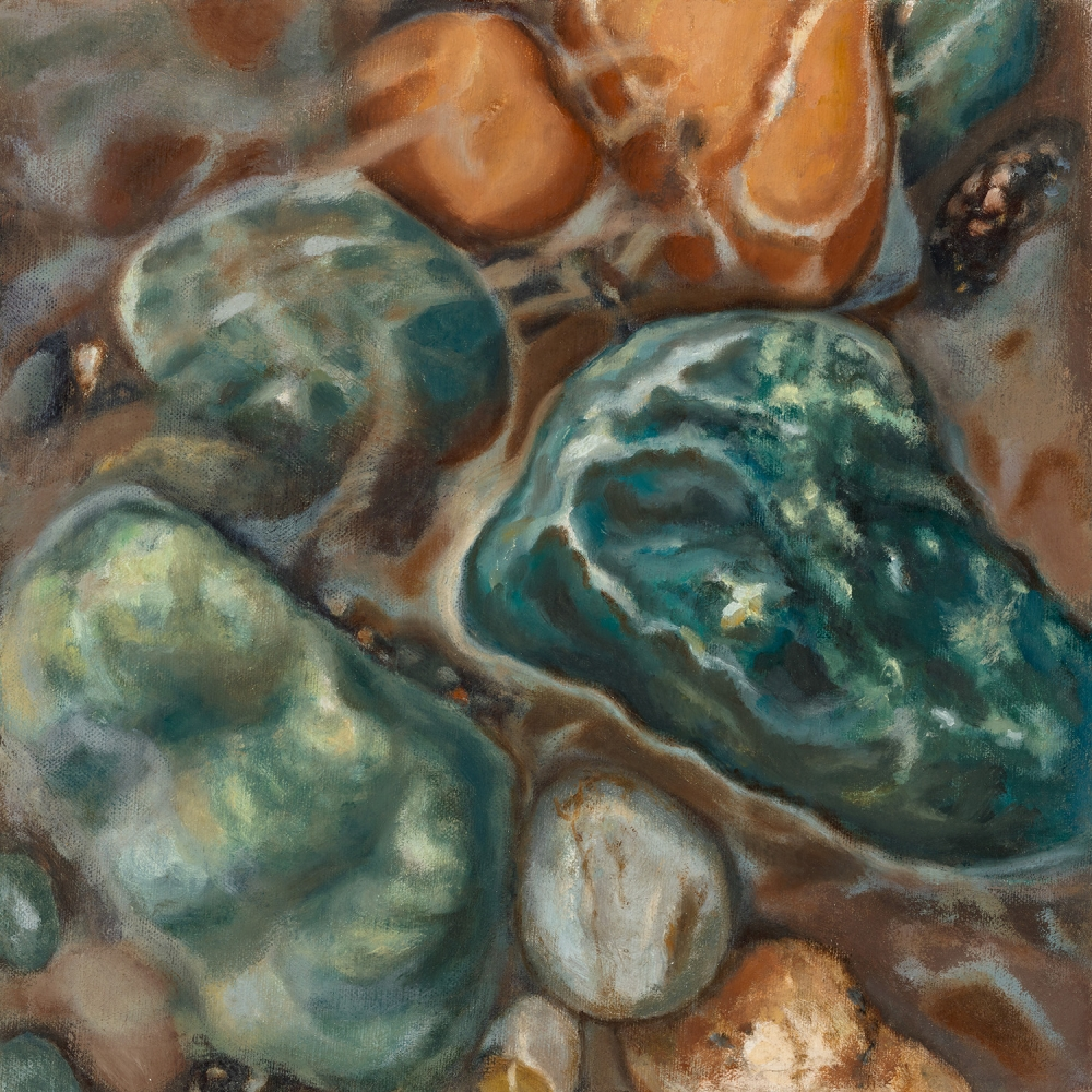 """All The Running Brooks"" by Patricia Halsell, oil on linen on panel, 2018, 10"" x 10"""
