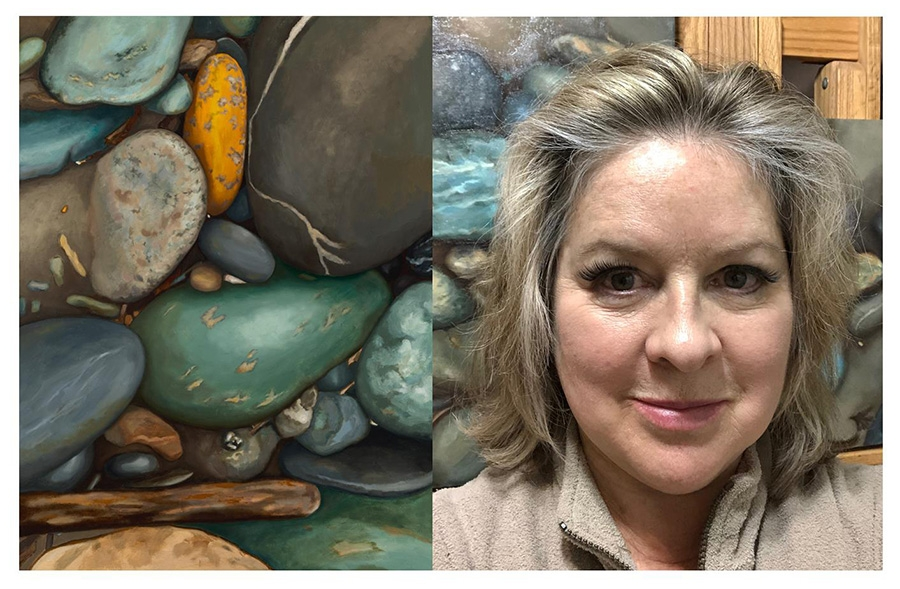 "Left, ""Sermons in Stones,"" oil on linen on panel, 2018, 30"" x 40"". Right, artist Patricia Halsell in her studio."