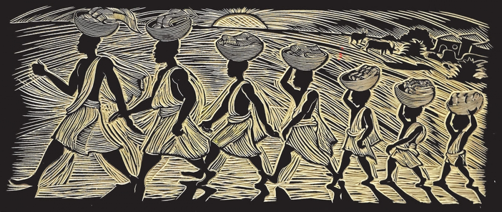 """Seven Spools of Thread: A Kwanzaa Story"" linoleum block, 2000"