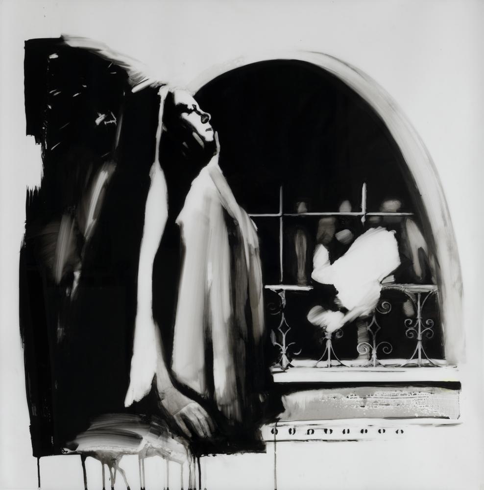 "Shay Bredimus, ""Dark Room Composition 6"", 2016-18, Tattoo ink & wax crayon on drafting film, 40"" x 40."" Photo courtesy courtesy of Koplin Del Rio Gallery."