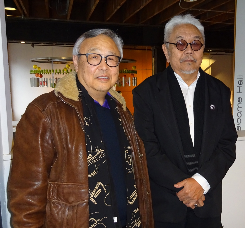 Lawrence Matsuda (left) and Roger Shimomura (right) at the Wing Luke Museum. Photo by Lisa Edge