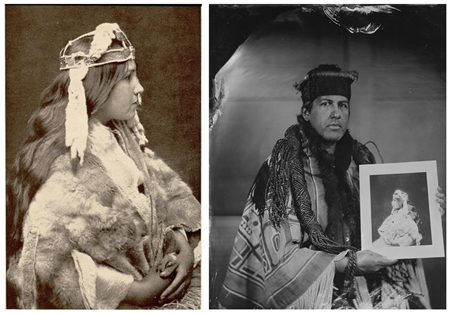 "(Left) ""Naida,"" 1914, platinum print by Edward S. Curtis. (Right) Naida's grandson, Andy Everson. Tintype by Will Wilson, 2018."