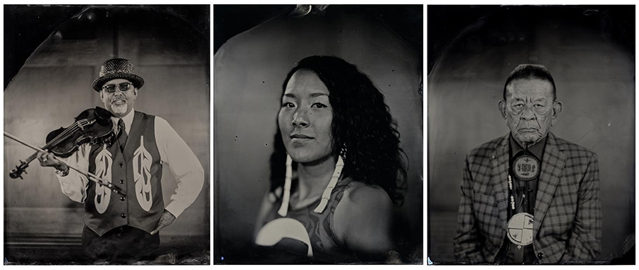 "From left Swil Kanim, Violinist, Citizen of the Lummi Nation; Crystal Worl,Artist, Tlingit, Athabascan; John McCoy, Washington State Senator, Citizen of the Tulalip Nation. ""Talking Tintype"" from the series Critical Indigenous Photographic Exchange: d=id="