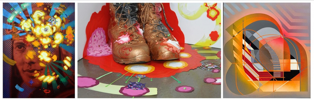 """From left: """"Onwards and Upwards"""" by Roni Feldman 2016, acrylic and collage on canvas ; """"Souvenir from Machu Picchu"""" by Roni Feldman, 2016, hiking boots, duralar, acrylic, collage; """"Beach Blvd"""" by Alex Couwenberg, 2018, acrylic and spray paint on canvas, 2"""
