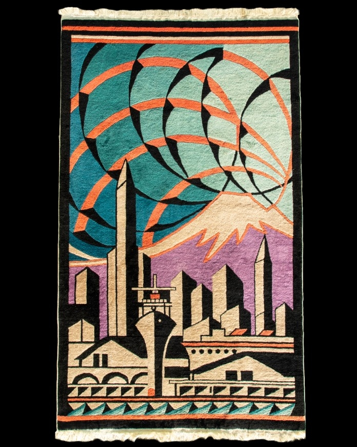 Orre Nelson Nobles (1894–1967) designed rugs for the Fette-Li Company, including the vibrant depiction of the Seattle waterfront, circa 1930.