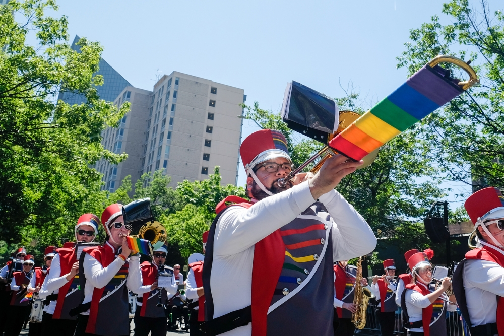The  Rainbow City Marching Band is composed of musicians who are LGBTQ or allies. The band has been marching in the Seattle Pride Parade since it began in 1998. Photo by Alex Bergstrom