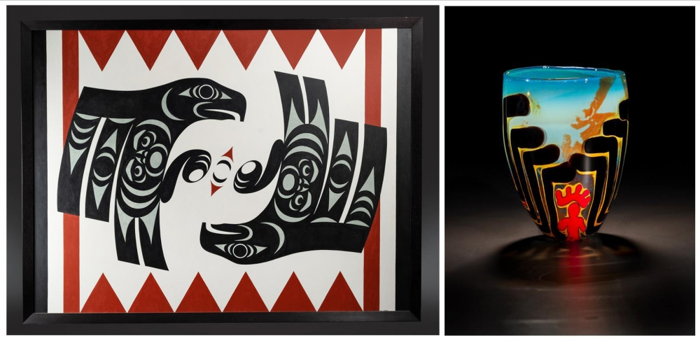 "From left, ""Mating Eagles"" by Maynard Johnny, Jr. (Penelakut/Kwakwaka'wakw), acrylic painting; ""Glass Sally Bag,"" (2019) by Dan Friday (Lummi) and Lillian Pitt (Wasco/Warm Springs/Yakama), blown and fused glass. Photos courtesy Stonington Gallery"