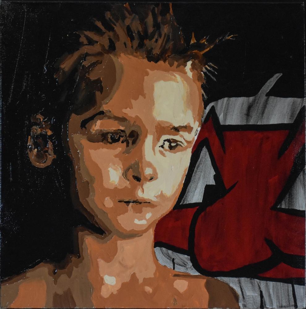 """Childlike Identity"" by Gregg Deal (Pyramid Lake Paiute Tribe), mixed media on canvas, 2017. Photo courtesy Gregg Deal"