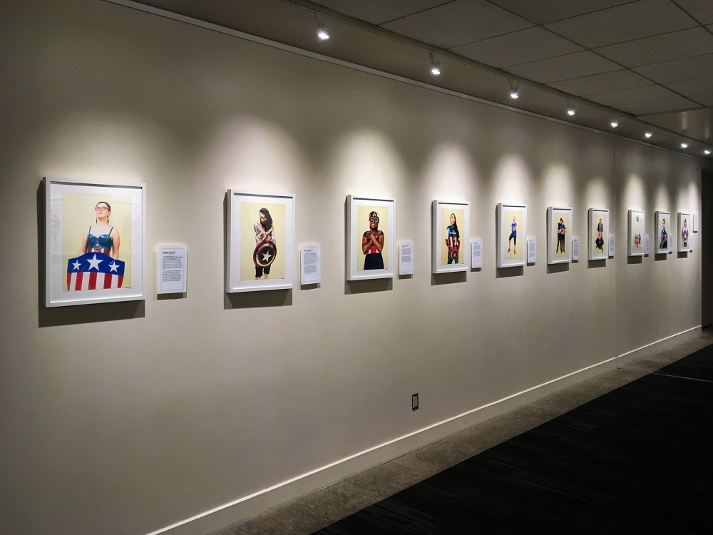 """The American Superhero"" project at UW Tower. Photo by Nate Gowdy"