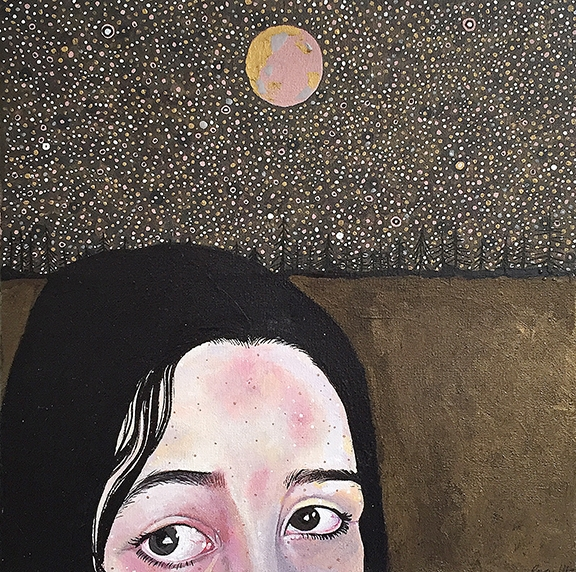 """""""The Quiet One"""" by Raven Juarez, acrylic on canvas, 2017. Photo courtesy 950 gallery"""