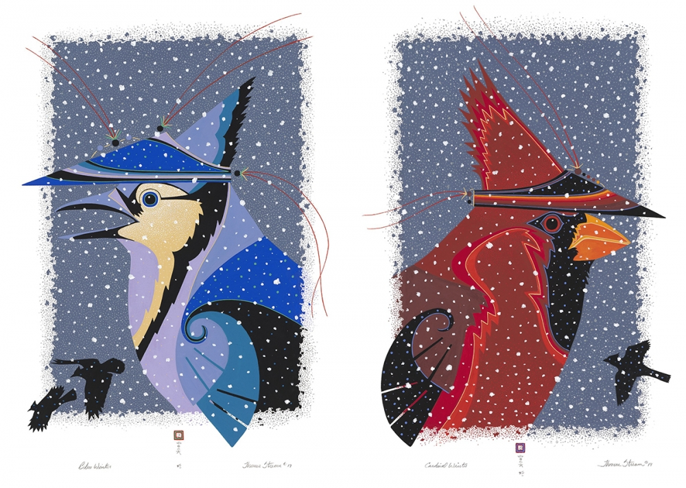 "From left: ""Blue Winter"" Thomas Stream (Sun'aq Aleut), gouache on paper; ""Cardinal Winter"" by Thomas Stream (Sun'aq Aleut), gouache on paper."