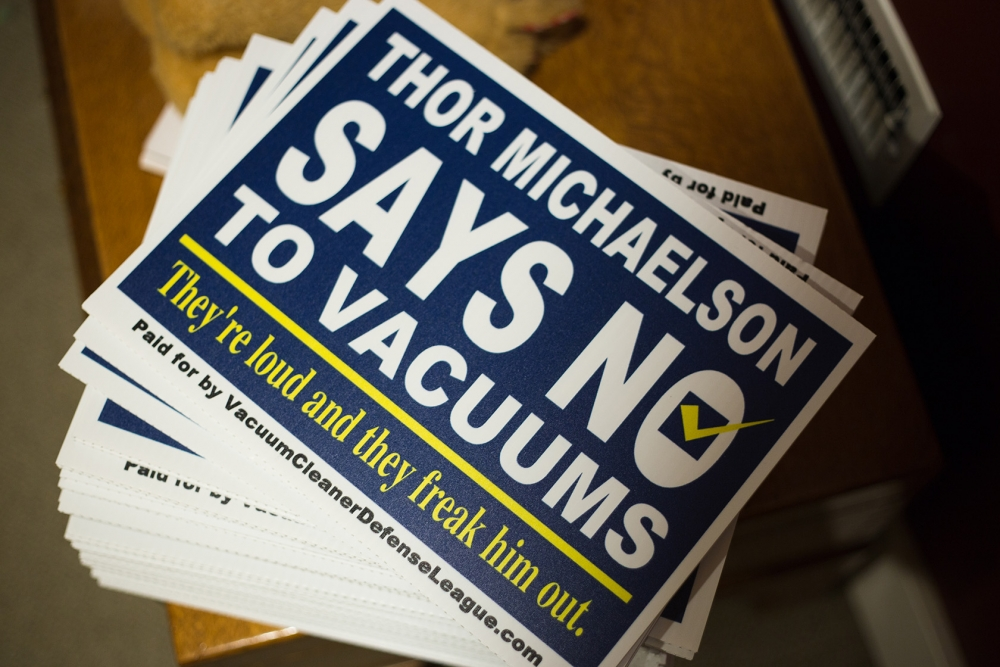 Thor Michaelson's owners have made political signs for the race. Photo by Matthew S. Browning
