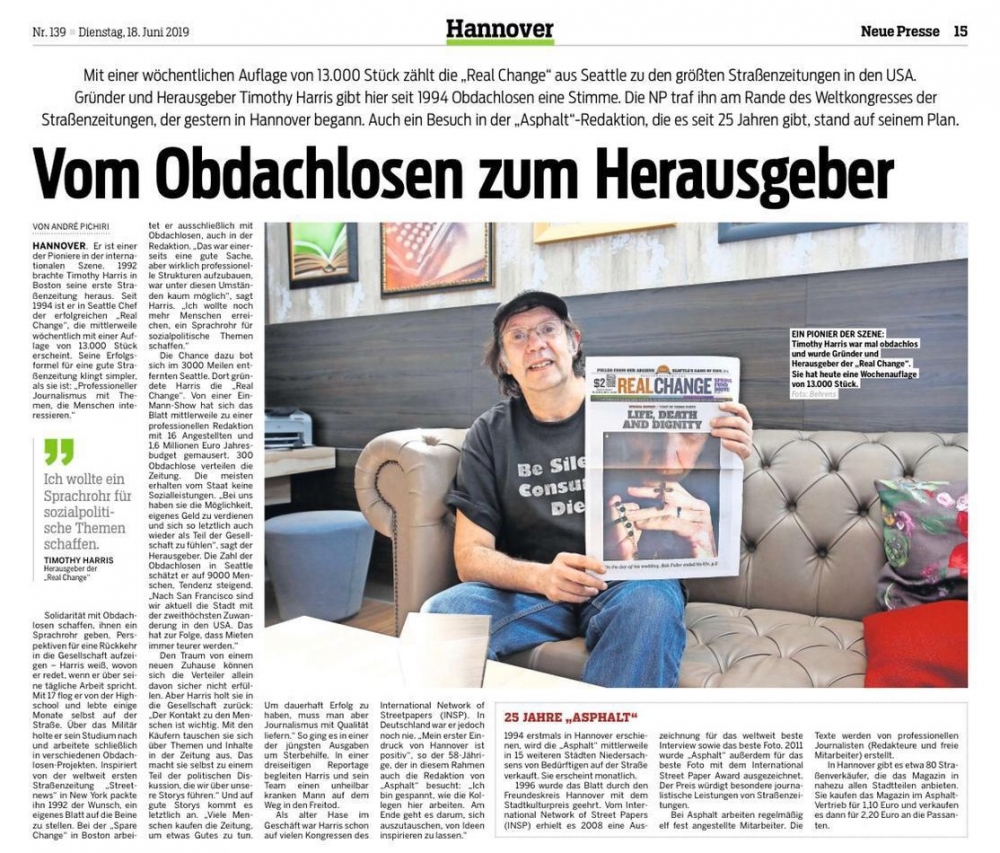 While Tim Harris was at the 2019 Global Street Paper Summit he was interviewed by a German newspaper.