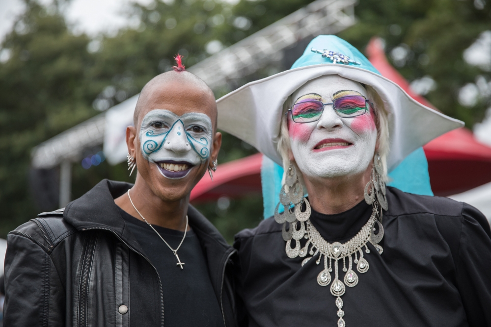 Saturnalia, left, and Sister Testi Cles Mangina at the Trans Pride Seattle March. Photo by Alex Garland