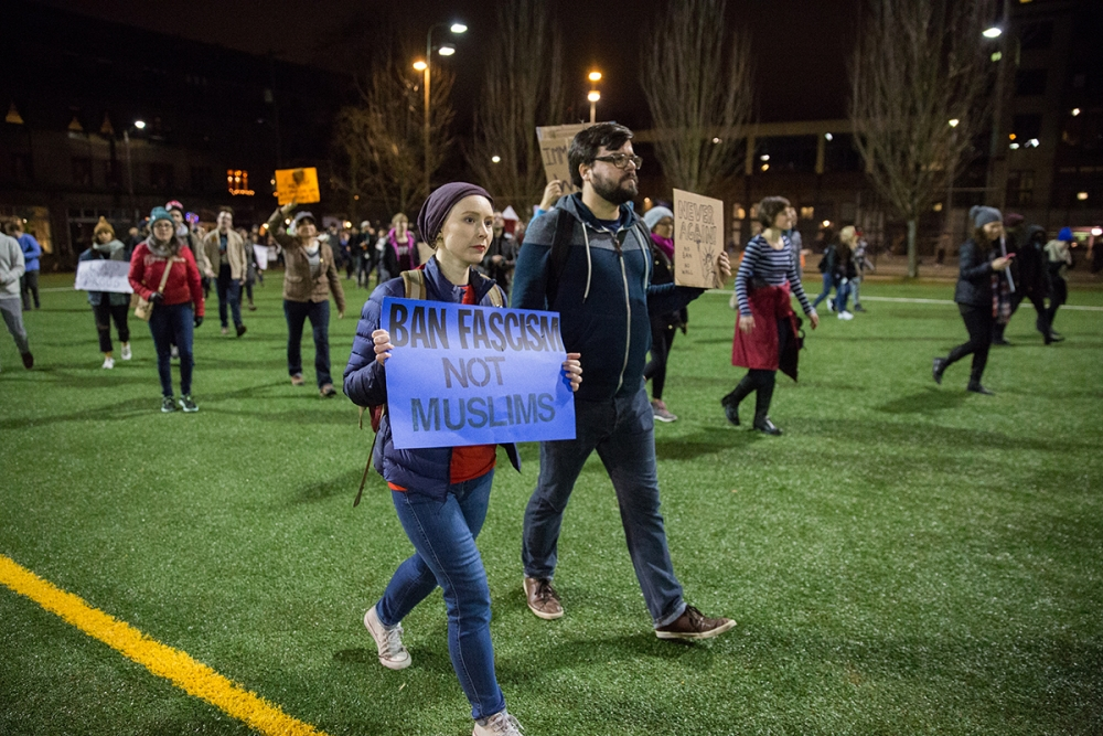 Thousands of people in Seattle protested President Trump's Muslim ban. Photo by Alex Garland