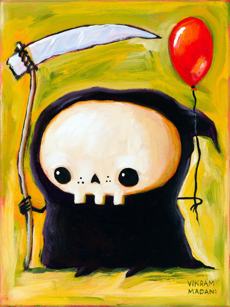 """The Short-Lived Balloon"" by Vikram Madan, acrylic on canvas, 9 x 12 in., 2017"