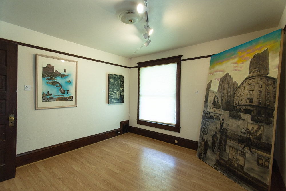 In one of the upstairs bedrooms artwork from Chi Moscou Jackson was on display. Jackson is a collage artist who re-approaches images. Photo by Matthew S. Browning