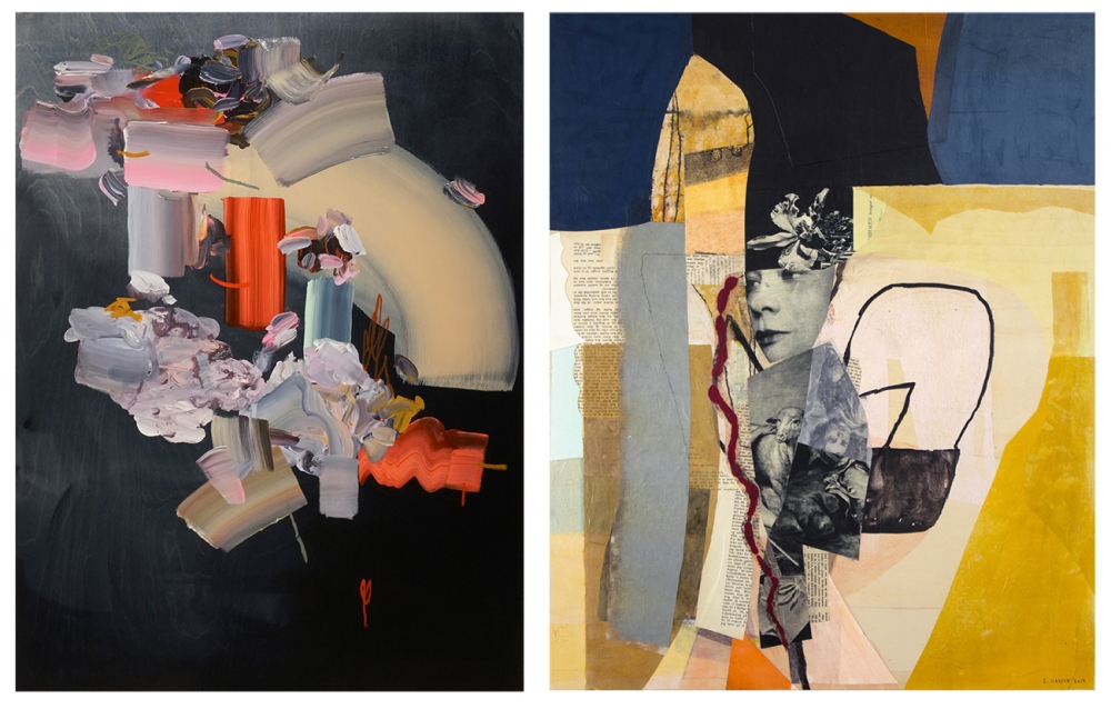 "From left: ""Night Loops"" by Janna Watson, mixed media on panel, 48 x 36 inches; ""She - Red Thread"" by Eva Isaksen, collage on canvas, 30 x 24 inches."