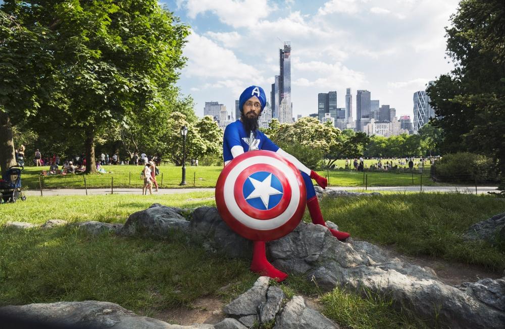 Vishavjit Singh as Sikh Captain America. Photo by Fiona Aboud