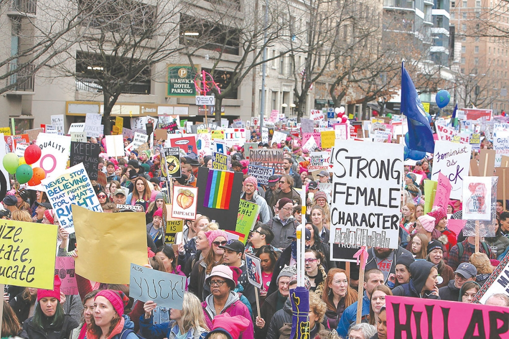 Crowd estimates for Saturday's Womxn's March on Seattle were more that 120,000. Photo by Joseph Romain