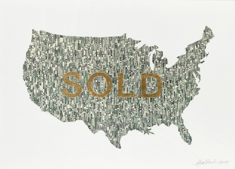 """bought and sold"" by Holly Ballard Martz, shredded US currency, imitation gold leaf, Rives BFK; 10"" x 14""; 2019"
