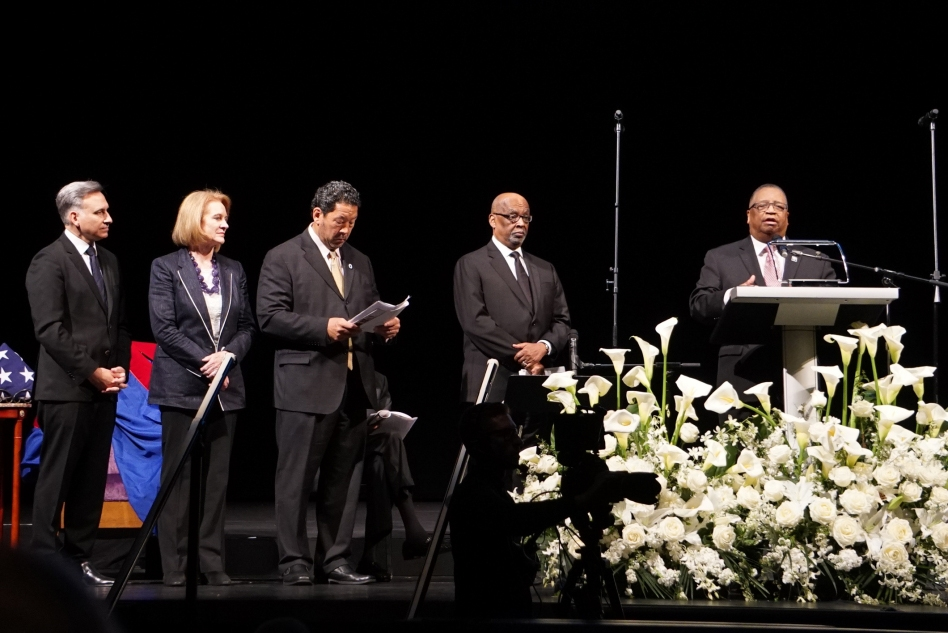 Senators, mayors, county executives, parishioners, family and friends attend the service for the Rev. McKinney. Photo by Marcus Harrison Green