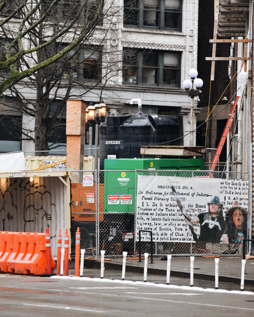 The Chief Seattle Club carries on building ?ál?al/Home in the pandemic, Jan. 29, 2021. The new construction is near the Chief Seattle Club's center and the Pioneer Square Link Light Rail station. While ?ál?al was set to be done in April 2021, the hindranc