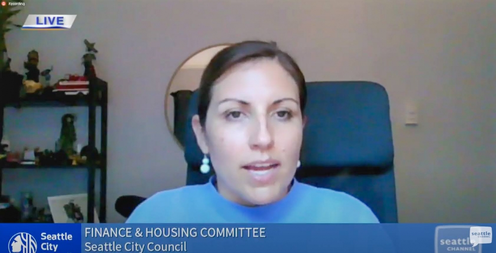 Councilmember Teresa Mosqueda discussed at the committee meeting how the relief funds could be spent. Seattleites called in and shared their ideas, which notably included plugs to defund Seattle police.