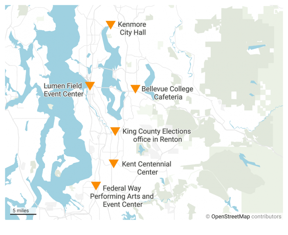 King County voting registration locations. Map by Henry Behrens/Datawrappr