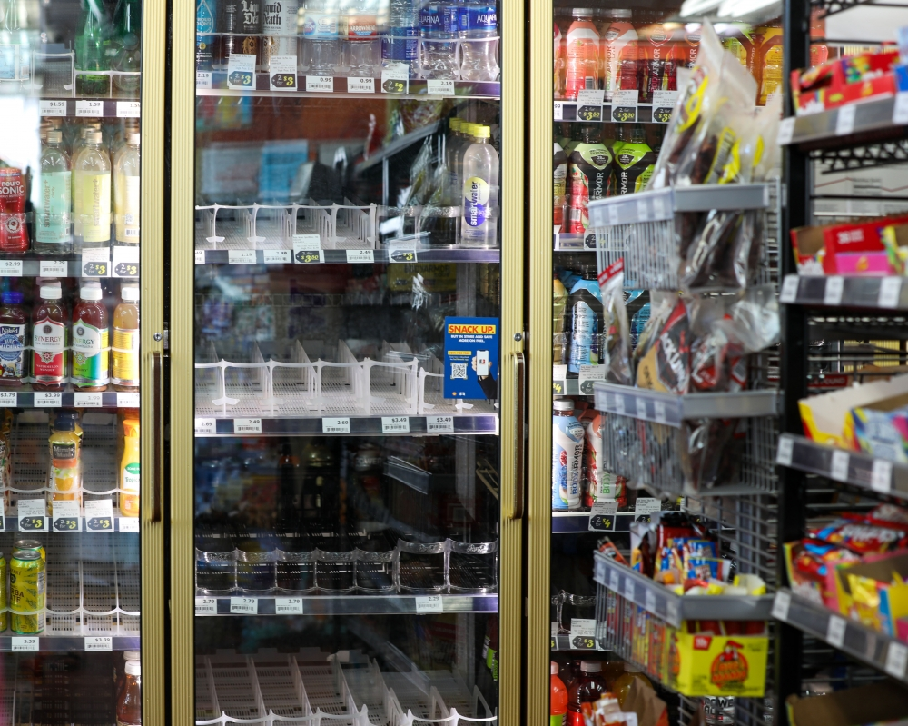 This north Seattle Shell gas station has empty shelves instead of water on the hottest day in Seattle's recorded history, June 28.