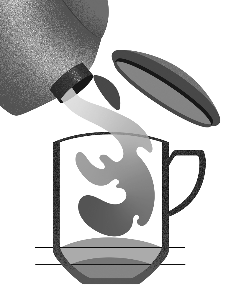 When using boiling water, Liu adds an inch of room-temperature water to steep green teas and half an inch to steep oolongs. Illustrations by Robin Hunt
