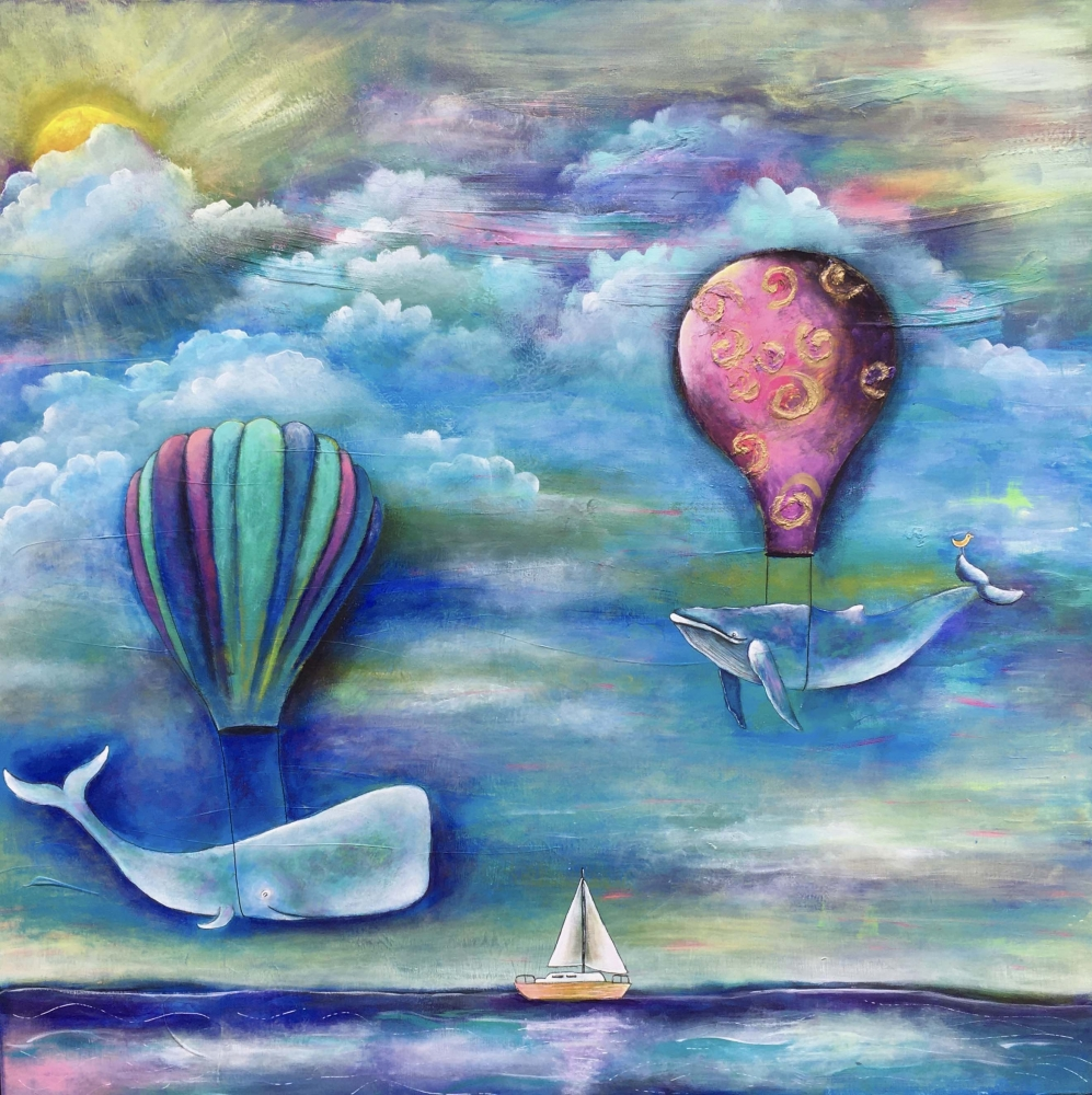 """Anni finds much inspiration in John, such as the acrylic painting """"Joy Ride"""" which was based on an idea from John."""
