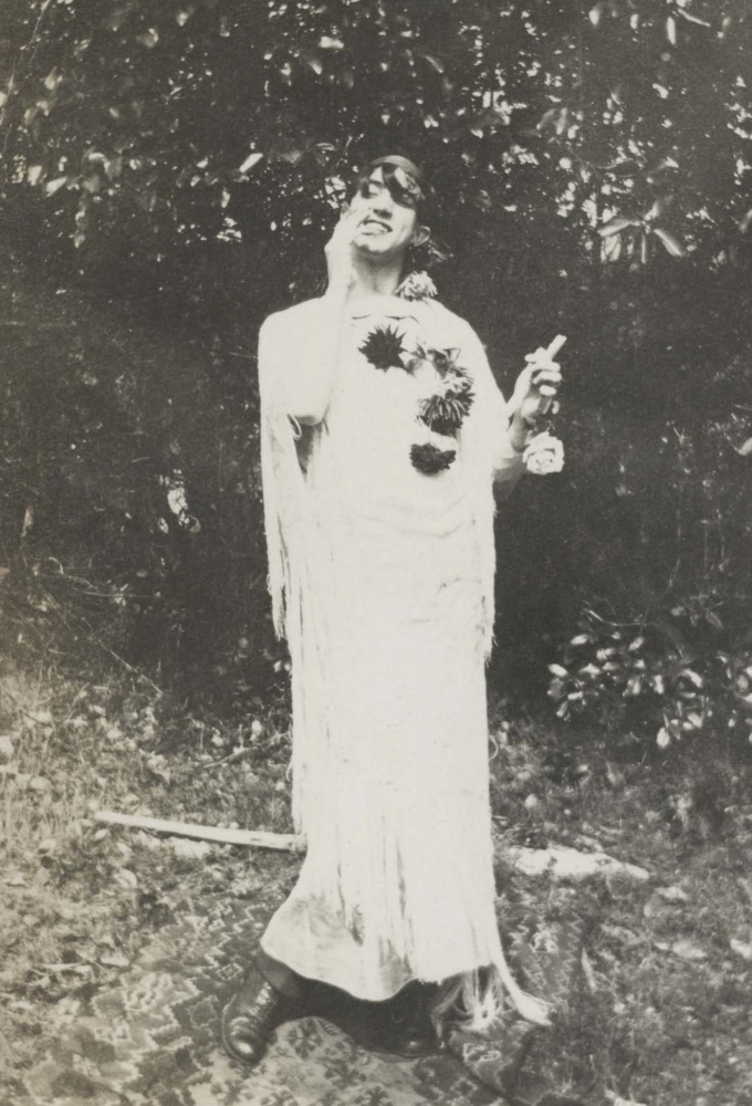 A photograph of Guthie McClintic in drag at the Moran Estate on Orcas Island, circa 1915.