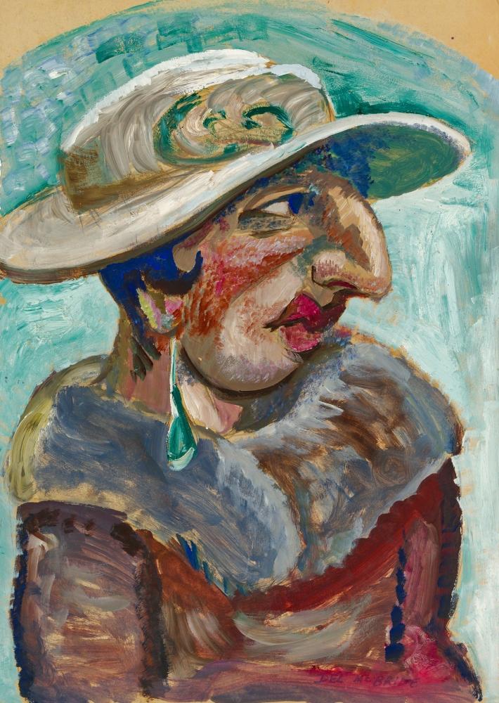An oil portrait of a drag queen by Delbert J. McBride (1920–1998).