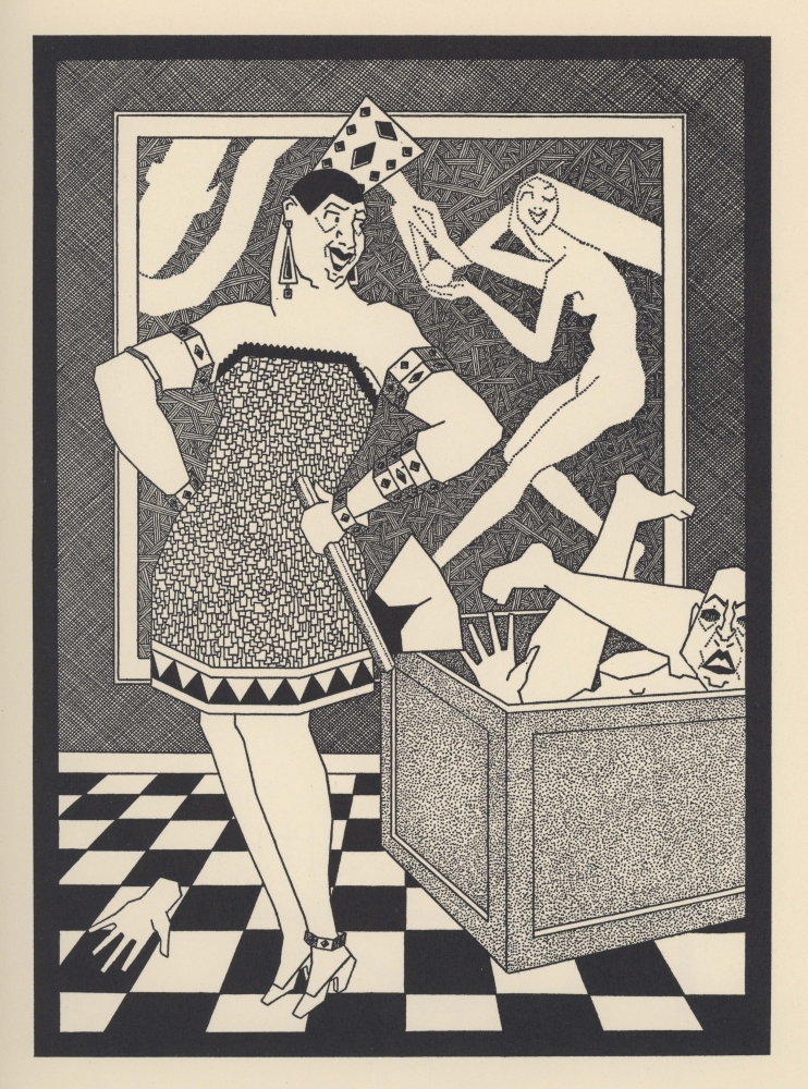 """Drag queens were common images in early 20th-century Seattle prints. Hollande Robinson (1890–1959) illustrated his self-published """"Nursery Rhymes for Petit Francais"""" in 1925, with this illustration titled """"Sing a Song of Six Francs."""""""