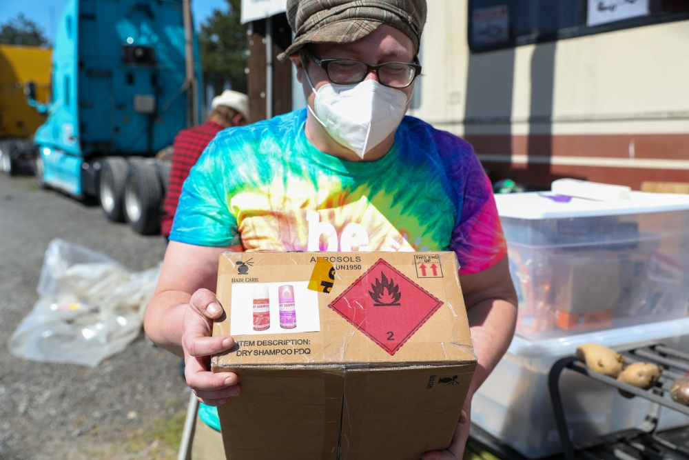 Powers has turned their RV into a waystation where people can drop off supplies for people experiencing homelessness. Currently, three encampments close by frequent Powers' waystation, gearing up on supplies. Shampoo, tents and water are among some of the