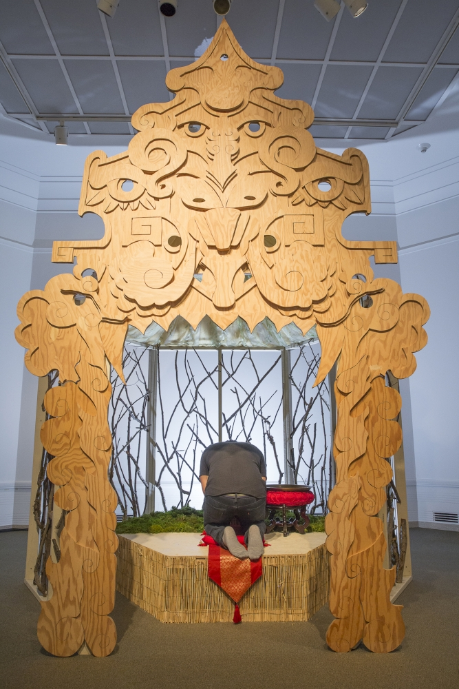 """""""The Oracle"""" was a collaborative temporary exhibit at the Seattle Asian Art Museum in 2018 that featured an interactive platform where participants could seek advice."""